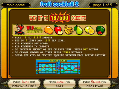 Игровые автоматы Fruit Cocktail 2 правила игры