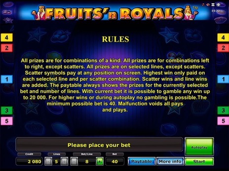 Игровые автоматы Fruits and Royals правила игры