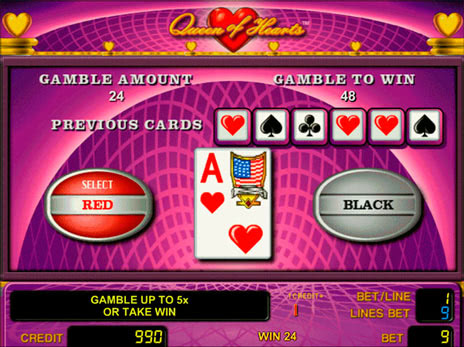 Онлайн слоты Queen of Hearts риск игра