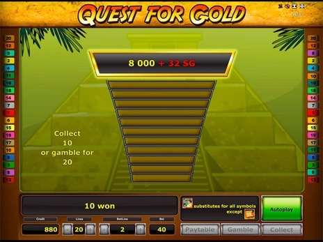 Слот аппараты Quest for Gold риск игра
