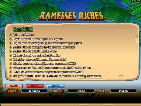 Игровые автоматы Ramesses Riches правила игры